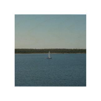 Velero en el lago Ontario Impresión En Madera