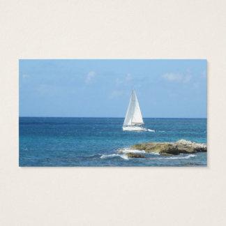 Velero en el océano tarjeta de visita