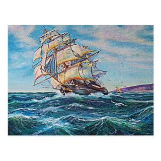 Velero en pintura al óleo de las aguas ásperas postal