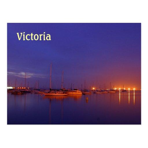 Veleros de Victoria en puerto deportivo en la post Postales