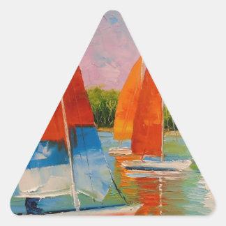 Veleros en el río pegatina triangular