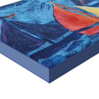 Veleros en fondo azul lienzo