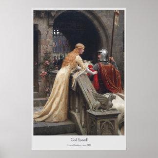 Velocidad de dios de Edmund Leighton Póster