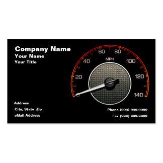 Velocímetro auto contra fondo negro tarjetas de visita