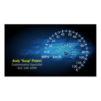 Velocímetro de la tarjeta de visita del mecánico