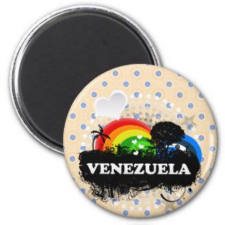 Venezuela con sabor a fruta linda imán redondo 5 cm