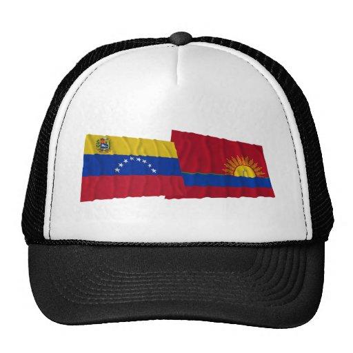 Venezuela y banderas que agitan de Carabobo Gorros