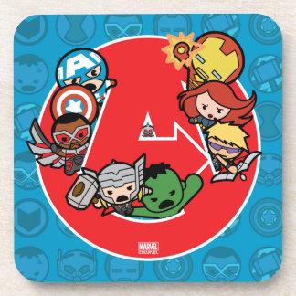 Vengadores de Kawaii dentro del Uno-Logotipo Posavasos