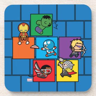 Vengadores de Kawaii en bloques coloridos Posavasos