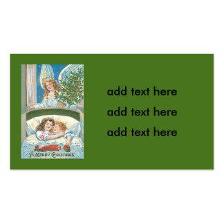 Ventana del árbol de navidad del ángel el dormir tarjetas de visita