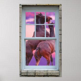 Ventana que mira hacia fuera la impresión de los póster