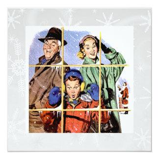 Ventana retra del navidad de los años 50 invitación 13,3 cm x 13,3cm