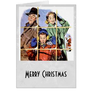 Ventana retra del navidad de los años 50 tarjeta pequeña