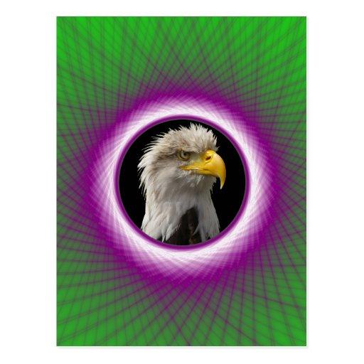 Ventana tejida verde y violeta de la postal