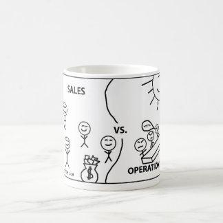 Ventas contra operaciones taza de café