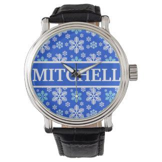 Ventisca azul personalizada reloj de pulsera