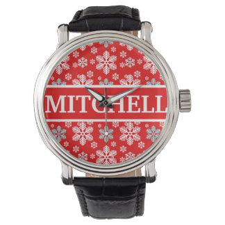 Ventisca roja personalizada reloj
