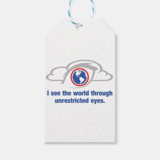 Veo el mundo a través de ojos sin restricción etiquetas para regalos