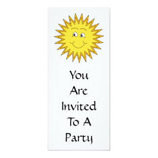 Verano amarillo Sun con una cara feliz Invitación 10,1 X 23,5 Cm