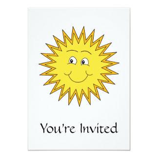 Verano amarillo Sun con una cara feliz Invitación 12,7 X 17,8 Cm