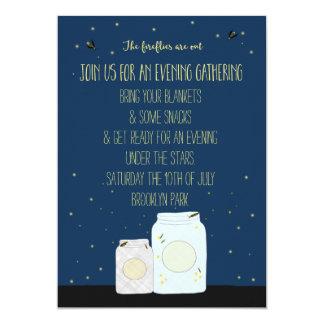 Verano que recolecta luciérnagas invitación 12,7 x 17,8 cm