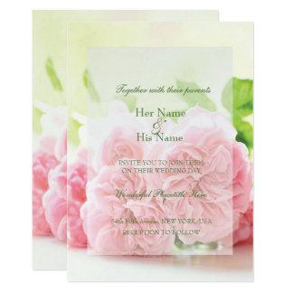 Verano rosado elegante subió casando la invitación invitación 12,7 x 17,8 cm