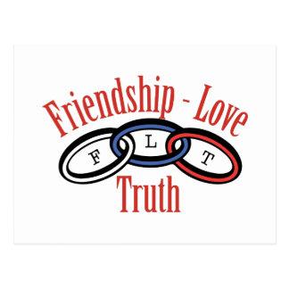 Verdad del amor de la amistad postal