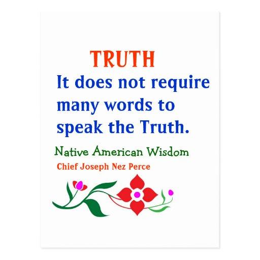 VERDAD:  Palabras indias americanas de la sabidurí Tarjetas Postales