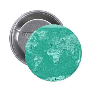 verde 1 del mapa del mundo chapa redonda de 5 cm