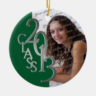 Verde 2013 y plata de la foto de la graduación de adorno navideño redondo de cerámica