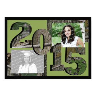 Verde 2015 de la foto del gemelo del graduado de invitación 12,7 x 17,8 cm