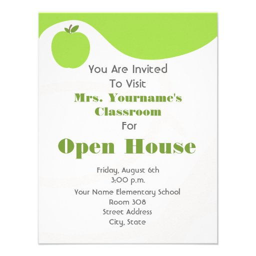 Verde abierto Apple de la Casa de la sala de clase Invitacion Personalizada