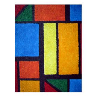 Verde abstracto rojo borroso de Mondrian Postal
