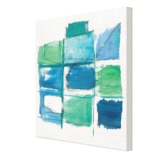 Verde abstracto y azul en blanco impresión en lienzo