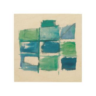 Verde abstracto y azul en el blanco 4 impresión en madera