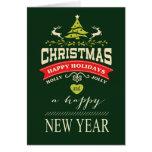 Verde alegre de la tipografía el | del navidad del tarjeta