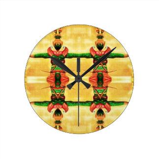 Verde amarillo del guardia psicodélico reloj redondo mediano
