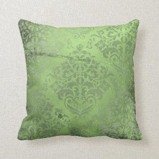 Verde apenado del damasco cojín