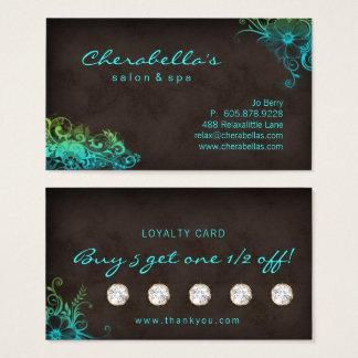 Verde azul de la tarjeta floral de la lealtad del