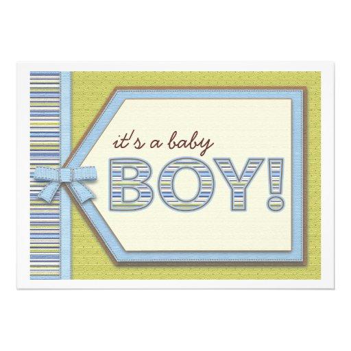 Verde azul es una fiesta de bienvenida al bebé del invitación personalizada