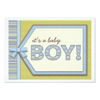 Verde azul es una fiesta de bienvenida al bebé del invitación 12,7 x 17,8 cm