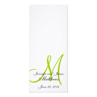 Verde blanco de lino del monograma del programa de invitación 10,1 x 23,5 cm