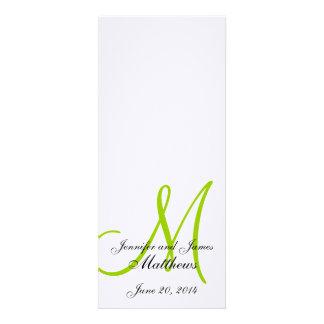 Verde blanco de lino del monograma del programa de invitaciones personales