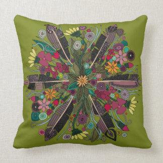 verde bohemio del ramillete cojín decorativo