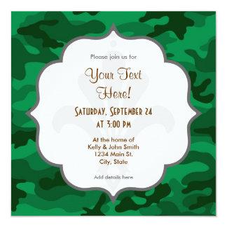 Verde caqui Camo, camuflaje Invitación 13,3 Cm X 13,3cm