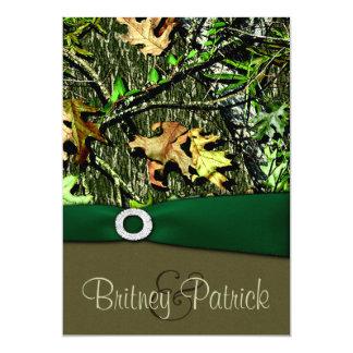 Verde caqui que caza invitaciones del boda de Camo Invitación 12,7 X 17,8 Cm