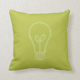 Verde claro, bombilla cojín decorativo