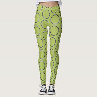 Verde claro y púrpura circunda las polainas leggings