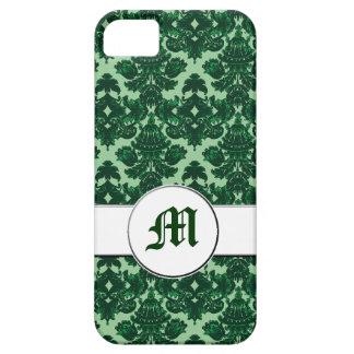 Verde clásico del damasco (monograma) iPhone 5 protector