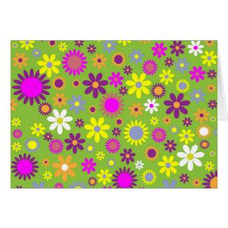 Verde colorido de Scrapbooking del estampado de fl Tarjeta De Felicitación
